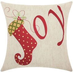 Mina Victory Home for the Holidays ''Joy'' Throw Pillow (£18) ❤ liked on Polyvore featuring home, home decor, throw pillows, other clrs, holiday throw pillows, holiday home decor and patterned throw pillows