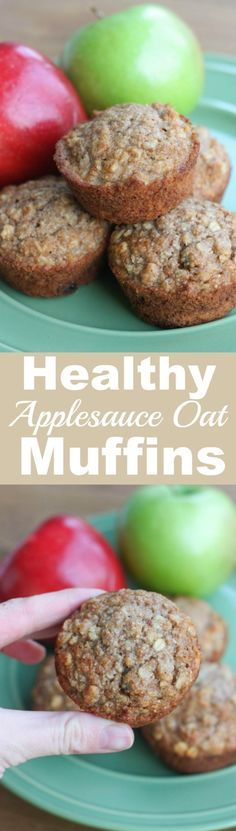 Healthy Applesauce Oat Muffins are the BEST healthy muffins--my whole family lov.,Healthy, Many of these healthy H E A L T H Y . Healthy Applesauce Oat Muffins are the BEST healthy muffins--my whole family loves them, including my kids. Good Healthy Snacks, Healthy Treats, Healthy Baking, Healthy Recipes, Healthy Fit, Healthy Oatmeal Muffins, Healthy Pregnancy Recipes, Advocare Recipes, Healthy Family Dinners