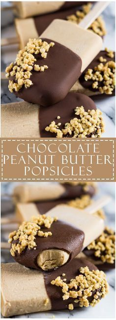 Chocolate Peanut Butter Yogurt Popsicles - Deliciously creamy and fudgy peanut butter yoghurt popsicles dipped in chocolate and sprinkled with crushed salted peanuts! Frozen Desserts, Frozen Treats, Just Desserts, Delicious Desserts, Yummy Food, Healthy Food, Healthy Recipes, Frozen Cookies, Healthy Eating