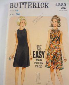 Vintage 1960s Butterick A Line Dress Pattern Size by Abbysfabric, $5.00