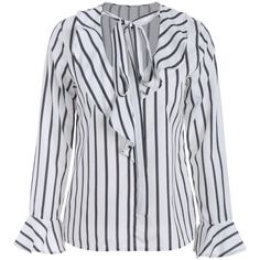 Bow Tie Ruffles Striped Blouse Stripe ($22) ❤ liked on Polyvore featuring tops, blouses, www.zaful.com, striped blouse, stripe top, ruffle blouse, frilled top and frill top