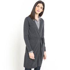Image Długi sweter z paskiem, czysta wełna z merynosów LAURA CLEMENT 216 zł