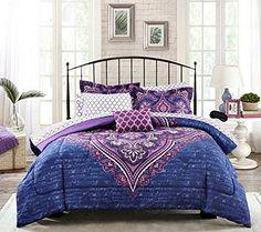 New! Boho Chic Blue Purple Teen Girls Comforter, Shams, Sheet Set, Toss Pillow +BONUS Home Style Sleep Mask! (7 Pc. Bedding Bundle) (Twin) Home Style http://www.amazon.com/dp/B017QIHR22/ref=cm_sw_r_pi_dp_c04Twb0S9YCBV