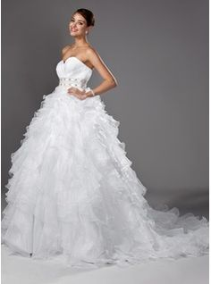 Ball-Gown Sweetheart Chapel Train Organza Satin Wedding Dress With Ruffle Beading (002004753) - JJsHouse