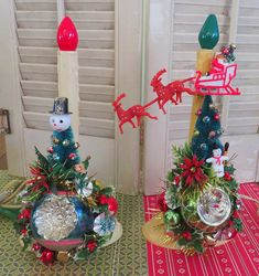 Holiday cheer! Here is a fun pair of Christmas decorations made with vintage and new materials! This whimsical decoration features a pair of...