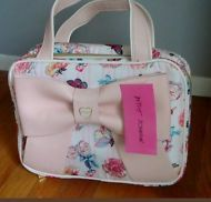 *NEW* Betsey Johnson Weekender Floral Cosmetics Travel Bag Oversized Pink Bow