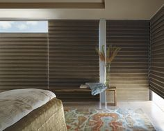 When you want total light control from room darkening to the ability to open shades from the top-down or bottom-up, the ideal bedroom window treatment is Hunter Douglas Vignette® Modern Roman Shades ♦ Hunter Douglas window treatments Hunter Douglas, Drapes And Blinds, House Blinds, Window Coverings, Window Treatments, Modern Roman Shades, Honeycomb Shades, Woven Wood Shades, Custom Blinds