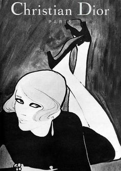 """the LBD form fitting sheath was """"THE DRESS"""" of the mid-60's by Christian Dior, 1967.  Illustrated by Rene Gruau."""