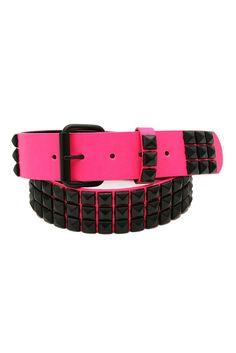 Three Row Hot Pink Black Pyramid Stud Belt
