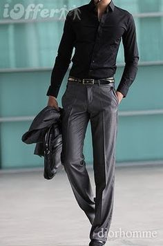 ♂ Masculine and elegance classy black and grey simple man's fashion apparel...my boyfriend would ROCK this look!