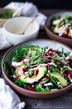 VEGAN POWER SALAD- This Beet and Avocado Salad with Cashew Tahini Dressing, power greens, cashew basil pesto, quick pickled shallots and toasted pumpkin seeds is the BEST! Healthy Salad Recipes, Whole Food Recipes, Vegetarian Recipes, Vegetarian Salad, Detox Recipes, Delicious Recipes, Best Vegan Salads, Pickled Shallots, Pickled Onions