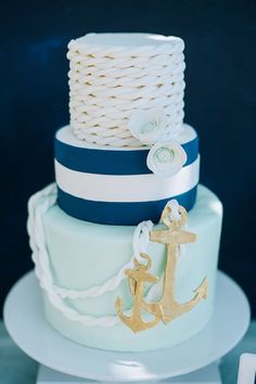 nautical rope wedding cake