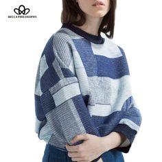 2016 spring new women's hoody sweatshirt pullover O-neck long sleeve geometric print blue