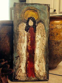 Original, Handmade, Textured Painting of Angel, Rustic Wall Art, Acrylic Angel Painting, Christmas Angel, Christmas Painting, Angel Painting