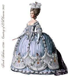 1774 French Fashion Plate PNG from the time of Marie Antoinette in various colors by EKDuncan - http://www.ekduncan.com/2012/04/fancy-french-fashions-and-costumes-from.html#