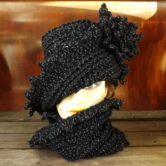Black Crochet Hat Womens Hat Infinity Scarf LAUREN Cloche Hat Crochet Flower Black Sparkle Hat Black Crochet Scarf Hat and Scarf by strawberrycouture by #strawberrycouture on #Etsy