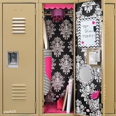 This school year, take your locker from drab to fab with wallpaper, carpet and even a chandelier! Middle School Lockers, Back To School, High School, Locker Decorations, School Decorations, Locker Lookz, School Locker Organization, Locker Ideas, Glee