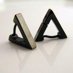 Triangle hoop earrings.