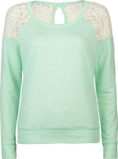 FULL TILT Lace Inset Womens Sweatshirt