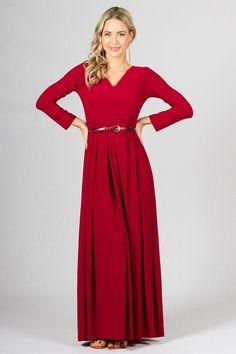 Long Sleeve Maxi Dress - Sangria