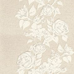 Boutique Rose Grey (VBR 604) - John Morris Wallpapers - A delightful rose floral trail, creating a vertical stripe on a linen fabric effect background.  Shown in the grey  colourway. Please request sample for true colour match.