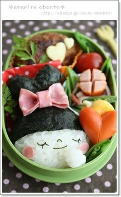 【作り方】バレンタイン*ハートのお団子ヘアGirlのキャラ弁|レシピブログ Japanese Food Art, Japanese Lunch Box, Kawaii Bento, Bento Recipes, Cute Box, Good Food, Fun Food, Cooking, Breakfast