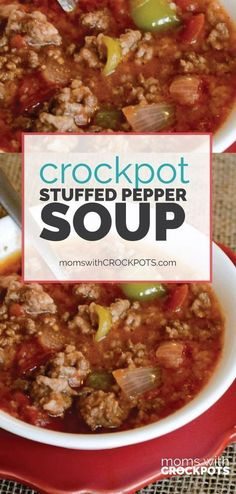 A quick and easy slow cooker dinner! Whip up a batch of this Crockpot Stuffed Pepper Soup Recipe! Crockpot Stuffed Pepper Soup - A quick and easy slow cooker dinner! Whip up a batch of this Crockpot Stuffed Pepper Soup Recipe! Crock Pot Recipes, Crock Pot Soup, Crock Pot Slow Cooker, Crock Pot Cooking, Slow Cooker Recipes, Cooking Recipes, Stuffed Pepper Soup Crockpot, Pasta Recipes, Recipes Dinner