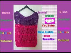 "Crochet Bella Blusa ""Trifina"" Fácil de tejer Cuello Ojal (Parte 1) por Maricita Colours - YouTube Crochet Videos, Crochet Tutorials, Boho Fashion, Crochet Top, Bella, Tops, Youtube, Sweaters, Templates"