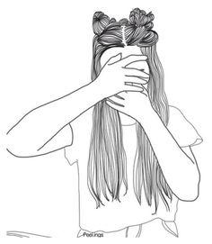 Noir et blanc Tumblr Outline Drawings, Tumblr Girl Drawing, Tumblr Sketches, Girl Drawing Sketches, Girl Sketch, Cute Drawings, Girl Drawings, B&w Tumblr, Tumblr Girls