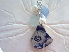 Blue Sea Glass Necklace Blue Vintage Jewelry by TheMysticMermaid