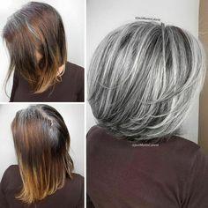 Grey Hair Transformation, Long Gray Hair, Grey Hair Bob, Grey Bob, Grey Hair Inspiration, Natural Hair Styles, Short Hair Styles, Gray Hair Highlights, Fashion Bubbles