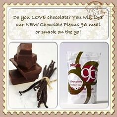 Product Thursday:  NEW PRODUCT  We now have Plexus 96 in Chocolate. It is a Chocolate protein powder, 96 calories per pouch! I can't wait to get mine! YUMMY! Order yours today! www.plexusslim.com/kristinairey