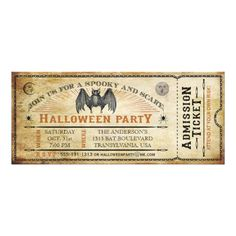 A vintage vampire bat with creepy spiders and moon faces create this scary Halloween Party Ticket on antique paper. The back is decorated with a vintage owl and moon. Customize with your own text. Halloween Dance, Adult Halloween Party, Halloween Party Supplies, Halloween Party Invitations, Halloween Party Costumes, Halloween Bats, Happy Halloween, Halloween Decorations, Halloween Ideas