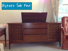 Mid-Century Record Console. Narrow Living Room, Cheap Web Hosting, Console, Buffet, Mid Century, Storage, Furniture, Home Decor, Purse Storage