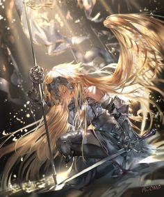Fantasy characters, anime characters, game of thrones characters, fictional characters, angel warrior Fate Stay Night, Luna Anime, Gilgamesh Anime, Jeane D Arc, Fate Apocrypha Ruler, Joan Of Arc Fate, Anime Pictures, Angel Warrior, Ange Demon