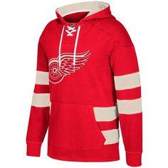 d2cd3b12fd1 Men s Detroit Red Wings CCM Red Jersey Pullover Hooded Sweatshirt Detroit  Red Wings
