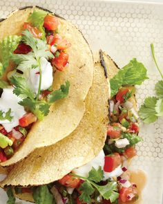 Salsa Tacos: Nonfat Greek yogurt is a great replacement for sour cream, wholeliving.com #cincodemayo