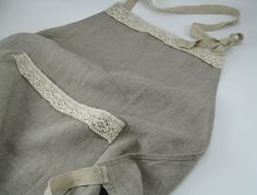 Handmade Linen Apron with Lace  Natural / Dye Free by huebycrafts, $34.00