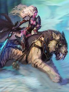 World of Warcraft fantasy art night elf sabertooth swords World Of Warcraft, Art Warcraft, Warcraft Legion, Fantasy Art Warrior, Fantasy Girl, Dark Fantasy, Fantasy Women, Fantasy Creatures, Mythical Creatures