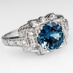 Art Deco Sapphire Engagement Ring Diamond Accents Platinum 1930's