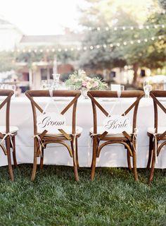 Bride + groom's sweetheart chairs: http://www.stylemepretty.com/california-weddings/mountain-view/2016/01/08/intimate-romantic-outdoor-summer-wedding/ | Photography: Meghan Mehan - http://meghanmehan.com/