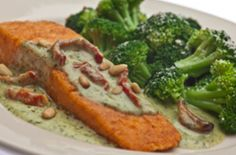 Buca Di Beppo Oven Roasted Salmon with Pesto Cream Sauce