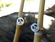 Pendientes panda/ Pendientes plata panda/ Pendientes animales/ Pendientes botón panda/ Pendientes plata/Pendientes presión panda/Panda plata de SplashJewel en Etsy
