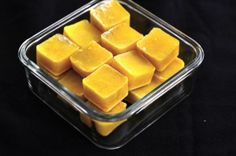 Frozen ginger juice cubes - great to have on hand to blend into a smoothie or tea! Ginger has many benefits including: maintaining normal blood circulation, relieving motion sickness and nausea, cold and flu prevention, reducing pain and inflammation, and settling a sick tummy (includes morning sickness)!