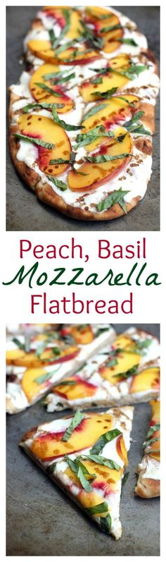 Peach, Basil, Mozzarella Flatbread with balsamic reduction. Recipe on http://TastesBetterFromScratch.com