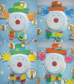 Clowns on plastic plates - Crafts for Teens Clown Crafts, Crafts For Teens To Make, Paper Crafts For Kids, Preschool Crafts, Art For Kids, Diy And Crafts, Arts And Crafts, Art Children, Circus Art