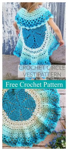 Girl's Flower Circle Vest Free Crochet Pattern A circle vest is a fun accessory. The Girl's Flower Circle Vest Free Crochet Pattern can be made with virtually any combination of yarn and hook. Crochet Circle Vest, Crochet Vest Pattern, Crochet Circles, Crochet Jacket, Crochet Flower Patterns, Crochet Flowers, Crochet Vests, Crochet Sweaters, Crochet Shrugs