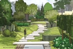 """ARCADIA GARDEN's signature """"handwriting"""" is expressed in terms of … - Wiitgbv Landscape Architecture Drawing, Landscape Sketch, Landscape Plans, Landscape Drawings, Urban Landscape, Landscape Design, Garden Design, Water Architecture, Classical Architecture"""