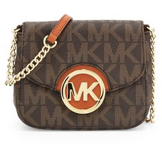 MICHAEL Michael Kors Small Fulton Logo Crossbody Bag ($148) ❤ liked on Polyvore featuring bags, handbags, shoulder bags, brown, mk, handbags crossbody, leather crossbody purse, leather shoulder handbags, handbags & purses e brown crossbody purse