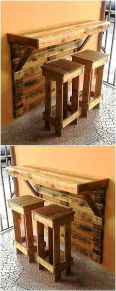 Look at this pallet project. A wall mounted bar and stools. All DIY. All pallets.#affiliatelink #Woodenpalletcrafts